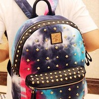 Rivet Gradient Color Denim Backpack