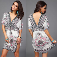 Sexy V Neck Floral Print Draw String Beach Dress