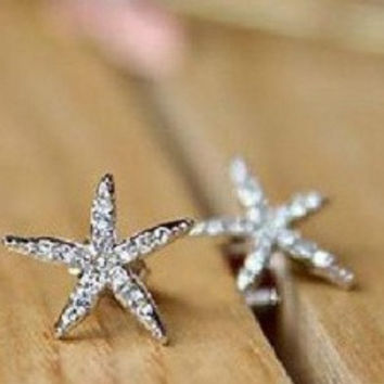 new hot Fashion Korean Fashion Personalized Romance rhinestone star starfish earrings jewelry for women = 1668756932