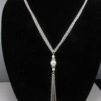 Long and Elegant Pearl Necklace