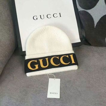 GUCCI Fashion Beanies Winter Embroidery LOGO Hat Cap-White For Woman  Men