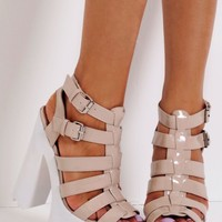 Toffee Nude Patent Strappy Buckle Tractor Sole Platform Shoes | Pink Boutique