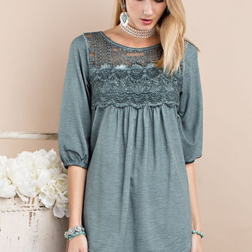 Oil Washed Lace & Crochet Tunic - Wormwood