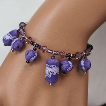Purple bracelet with Polymer Clay Millefiori Beads and crystals - OOAK gift for her