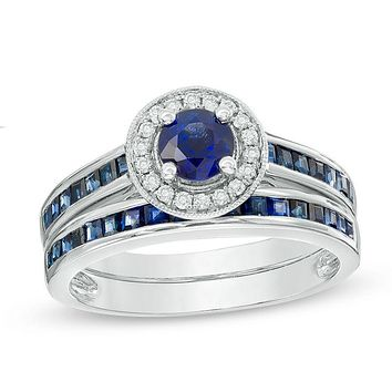 5.0mm Blue Sapphire and Diamond Accent Frame Bridal Engagement Ring Set in 14K White Gold