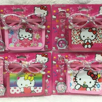NEW Classic 12 Set Cartoon Hello kitty  watches Wristwatch watch and Purses Wallets Set Glasses  Set  Gift Q6