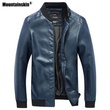 Mountainskin 2018 New Men's Leather Jackets Motorcycle PU Jacket Autumn Casual Leather Coats Slim Fit Mens Brand Clothing SA589