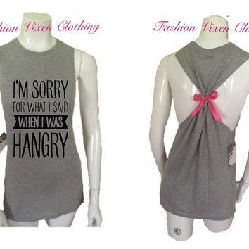 I'm Sorry For What I Said When I Was Hangry Workout Gym Tank Top S M L XL Plus Size 1x 2x 3x 4x 5x