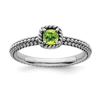 Sterling Silver Stackable Expressions Checker-Cut Cushion Peridot Antiqued Ring