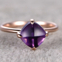 8mm Cushion Cut Amethyst Engagement Ring 14k Rose Gold amethyst crystal Halo Prong set