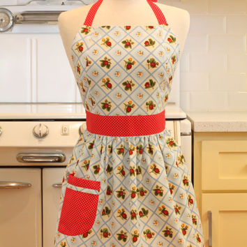 Retro Apron Blue Strawberry Patch CHLOE