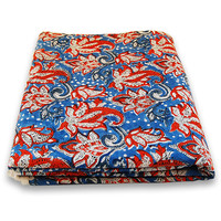 Indian Hand Printed Cotton Fabric Red Floral Design Fabric By The Yard Blue dye Pure Cotton Fabric Multi Purpose For Making Shirt/Dress