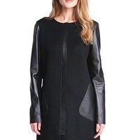 Lafayette 148 New York 'Shira' Leather & Wool Blend Coat | Nordstrom