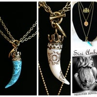 SISI AMBER LUCKY ITALIAN HORN & CROWN NECKLACE HANDMADE TURQUOISE & WHITE $148