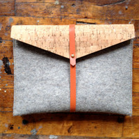ipad case in tan cork, felt, and rubber