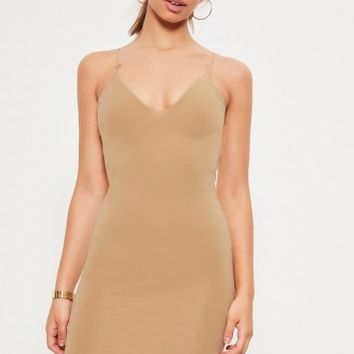 Missguided - Nude Strappy Curve hem midi dress