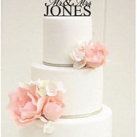 "6"" Custom Last Names Mr and Mrs Monogram Wedding Cake Topper"