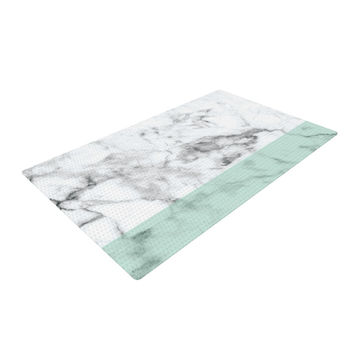 "KESS Original ""Mint Marble Fade"" White Green Woven Area Rug"