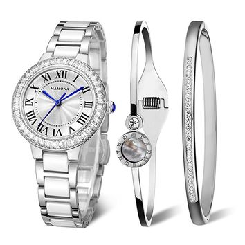 Women's Quartz Watch Bracelet Gift Set Crystal Accented Ceramic/Stainless Steel White L68008SRGT