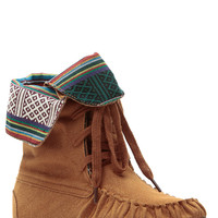 Cognac Tribal Town Lace Up Moccasin Boots