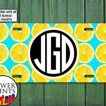 Blue Mint Lemon Slice Pop Art Pattern Cute Fruit Summer Initials Accessory For Front License Plate Car Tag One Size Fits All Vehicle Custom