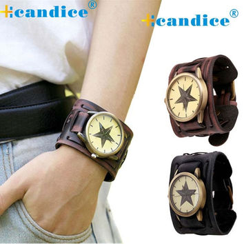 New Retro Punk Rock Brown Big Wide Leather Bracelet Cuff Men Designer Watch Cool Casual Watch Business Man
