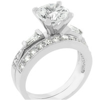 Nita Round Cut Solitaire Engagement Wedding Ring Set | 3 Carat | Cubic Zirconia