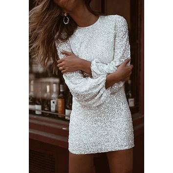 Chic White Puffy Sleeve Sequin Party Short Dress