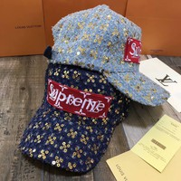 """Louis Vuitton x Supreme"" Unisex Fashion Sequin Patch Letter Flat Cap Couple All-match Baseball Cap Sun Hat"