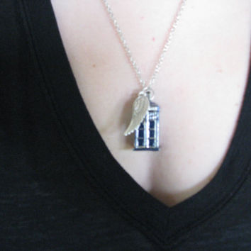 Doctor who police box necklace