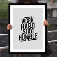 "Gift Ideas for Him Motivational Poster ""Work Hard Stay Humble"" Typography Poster Birthday Gift Graduation Gift Xmas Gift Art Print"