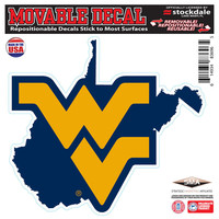 "West Virginia Mountaineers 6"" x 6"" Repositionable State Shape Decal"