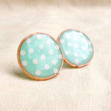 Mint Blue polka dots stud earrings with polymer clay and copper wire
