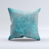Grungy Bright Teal Surface ink-Fuzed Decorative Throw Pillow