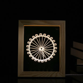 3D Creative LED Decorative Romantic Ferris Wheel Wooden Photo Frame Acrylic Nightlight Table Lamp