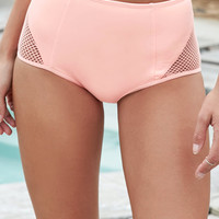 LA Hearts Mesh Inset High Waisted Bikini Bottom at PacSun.com