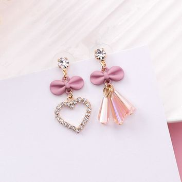 Fashion Shiny Rhinestone Love Heart Cute Bowknot Asymmetric Drop Earrings for Women Crystal Tassel Pendant Jewelry Brincos EC815