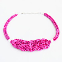 Shiny hot pink knotted nautical rope adjustable statement necklace
