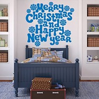 Wall Decals Merry Christmas and Happy New Year Snowflakes Decal Vinyl Sticker Home Art Bedroom Home Decor Nursery Baby Room Art Murals MS736
