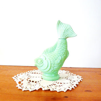 vintage avon bottle koi fish mint green /// milk by thriftonica