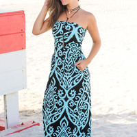 Black and Aqua Strapless Maxi Dress