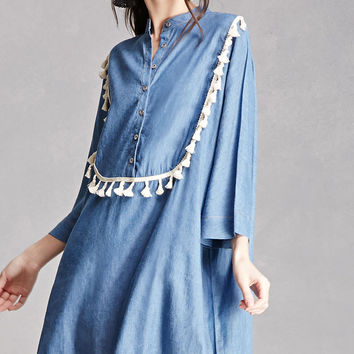 Denim Crochet Fringe Dress