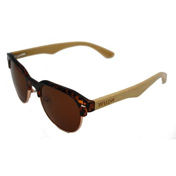 Men & Women's Round Bamboo Vintage Clubmaster Sunglasses - Polarized Lenses