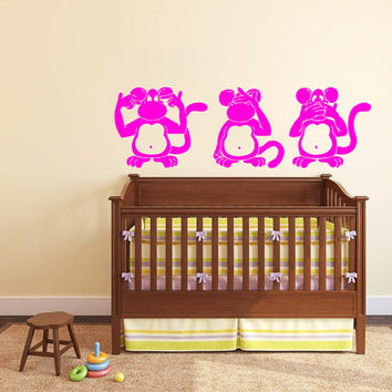 Wall Decal Vinyl Sticker Decals Art Home Decor Design Mural Funny Monkey Animals Jungle Baby Kids Children Game Room Nursery Bathroom AN113