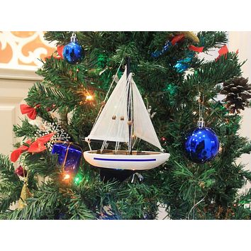 Wooden Blue Sailboat Christmas Tree Ornament 9""