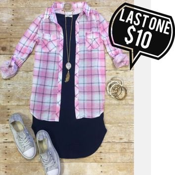Penny Plaid Flannel Top: Pink/White