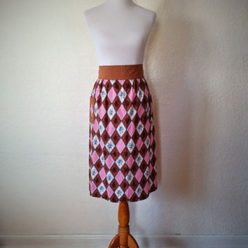 Vintage 50's Long Half Apron with Brown and Pink Floral Diamond Pattern