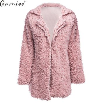 Gamiss Winter Grey Wool Overcoat Warm Outerwear Women Pink Faux Fur Coat Turn Down Collar Long Sleeve Cardigan Female Outwear