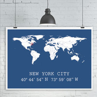 Personalised World Map Print X1 City