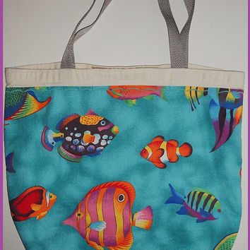 Vintage 80s Tropical Neon Rainbow Fish Tote Purse Beach Bag Bright Colorful Fun Kawaii